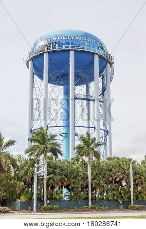 Hollywood Fl USA - March 14 2017: Hollywood water tower - the colorful landmark of Hollywood. Florida United States
