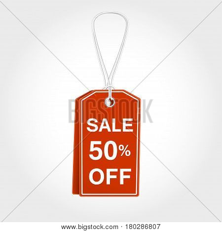 Red Tag, label with sale 50 off for seasons design. Vector illustration tamplate