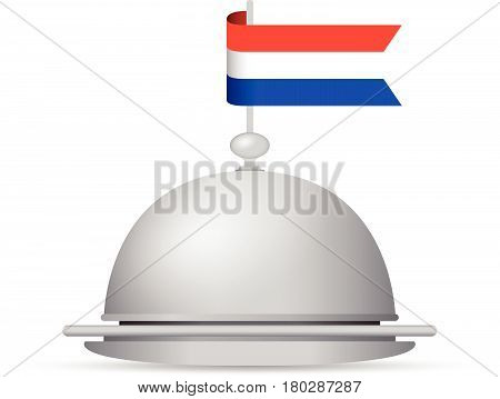 a red blue and white dutch flag platter