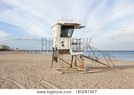 Pompano Beach Fl USA - March 14 2017: Lifeguard tower on the beach in Pompano Beach. Florida United States