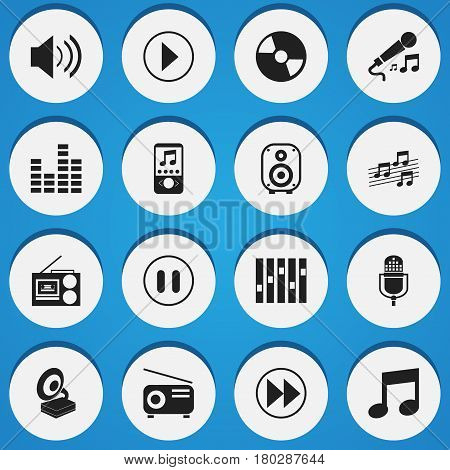 Set Of 16 Editable Multimedia Icons. Includes Symbols Such As Stop, Music, Bar Wave And More. Can Be Used For Web, Mobile, UI And Infographic Design.