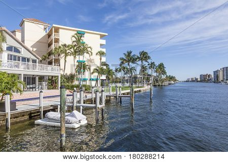 Waterfront buildings in Pompano Beach Florida United States