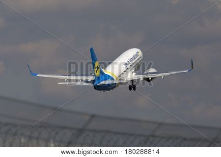Borispol, Ukraine - May 11, 2014: Ukraine International Airlines Boeing 737-900ER aircraft departing from the Borispol International Airport on May 11, 2014. Editorial use only