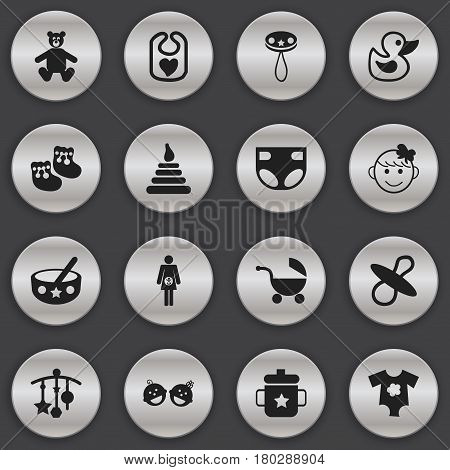 Set Of 16 Editable Baby Icons. Includes Symbols Such As Twins Babies, Pinafore, Soothers And More. Can Be Used For Web, Mobile, UI And Infographic Design.
