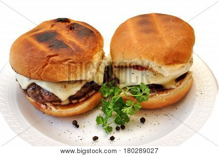 Two Juicy Cheese Burgers Served on a Plate