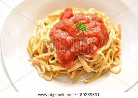 Linguini Pasta Served with Tomato Sauce and Parsley