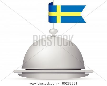 a blue and yellow sweden flag dinner platter