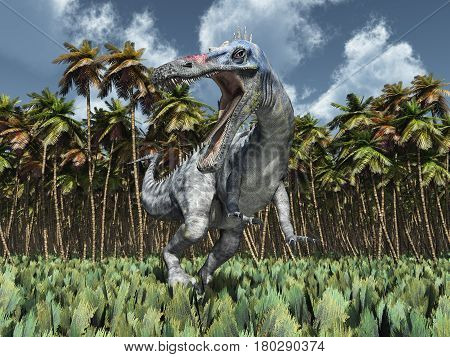 Computer generated 3D illustration with the dinosaur Suchomimus in the jungle