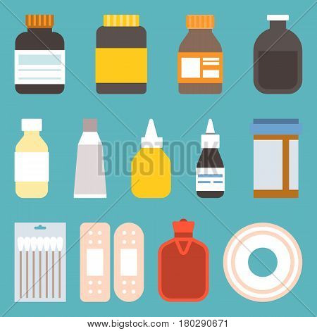 Different medicine bottle icons in flat style