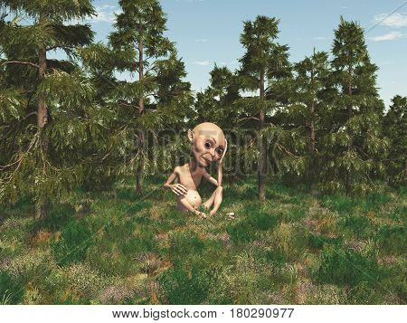 Computer generated 3D illustration with a dwarf in the forest