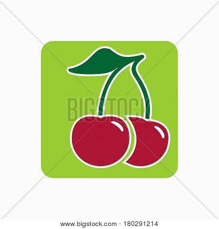 Cherry Icon Simple Flat Vector Illustration. Fresh Cherry Sign