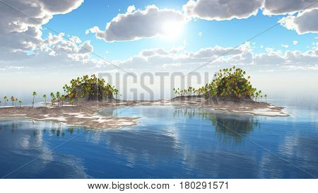Computer generated 3D illustration with tropical island and palms