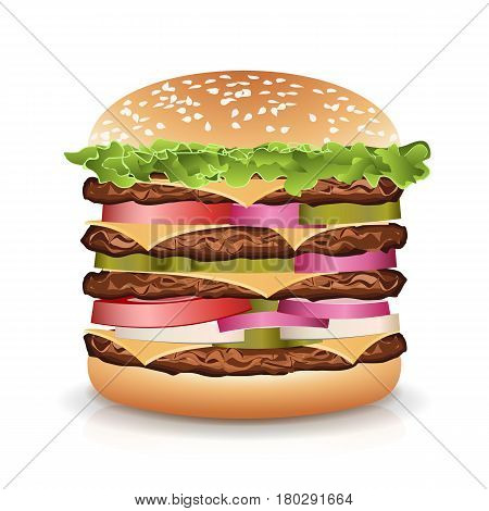 Fast Food Realistic Burger Vector. Realistic vector illustration of burger. Hamburger with Meat, Cucumbers, Cheese And Tomato. Vector Classic Burger Isolated.