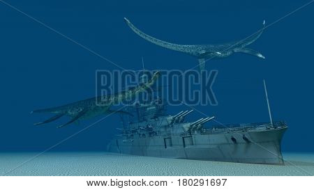 Computer generated 3D illustration with sunken warship and prehistoric sea reptiles