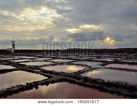 Salines of Tenefe at dawn, coast of Gran canaria, Canary islands