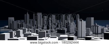 Computer generated 3D illustration with a 3D city view