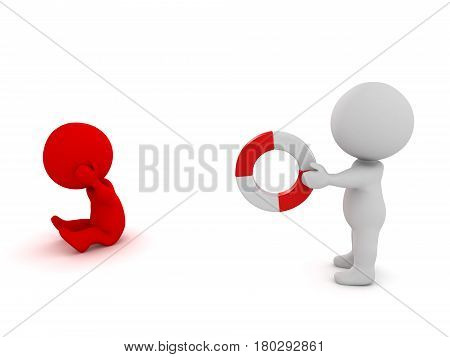 3D Character offering life buoy to another character who is depressed. This image depicts the concept of social support networks.