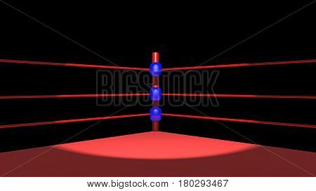 Computer generated 3D illustration with a boxing ring against a black background