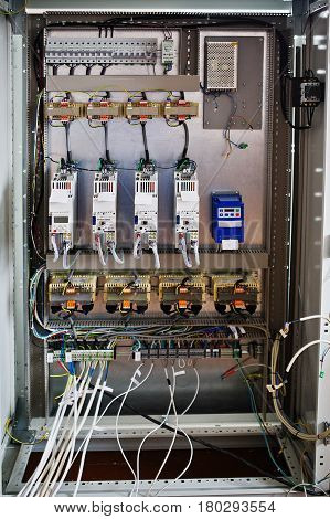 Electrical Panel, Electric Meter And Circuit Breakers. Electric Frequency Converter, Motor Speed Con