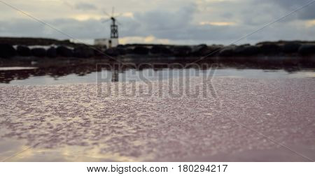 Layers of salt, salines at dawn and old mill