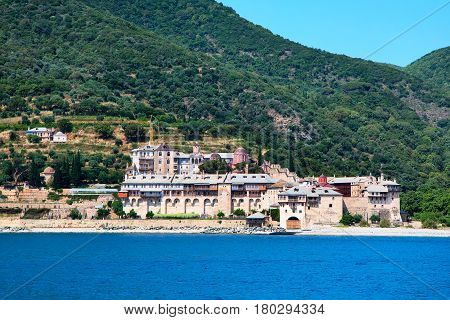 Seaview of Xenophontos Monastery in Athos Mount, Halkidiki , Greece
