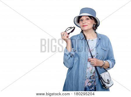Elderly Woman In Denim Coat Posing On White Background