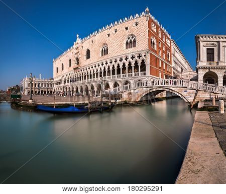 Doge's Palace and Bridge of Sighes in Venice Italy