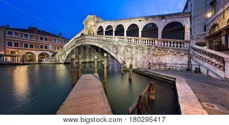 Grand Canal and Rialto Bridge at Dawn Venice Italy