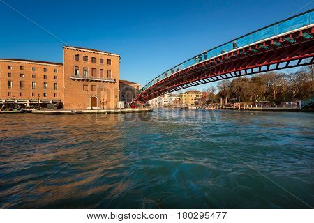 Constitution Bridge and Ferrovia Station in Venice Italy