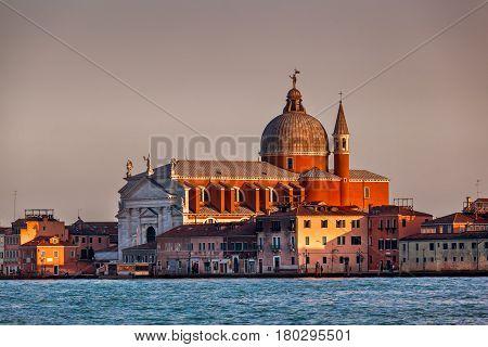 Redentore Sestiere Giudecca Church Facing Grand Canal in Venice Italy