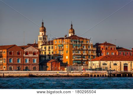 VENICE ITALY - MARCH 7: Venice Skyline and Church of Saint Raphael Angel in Venice. this church was one of the eight churches founded in Venice by St. Magnus of Oderzo.
