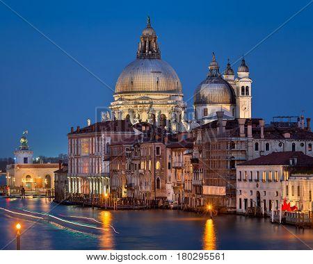 Santa Maria della Salute Church in the Evening Venice Italy