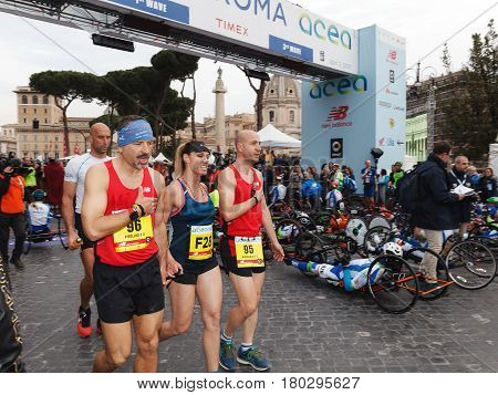 Rome Italy - April 2 2017: Annalisa Minetti participate as an athlete of the 23rd marathon in Rome. Here we see the singer on Via dei Fori Imperiali just before the start.