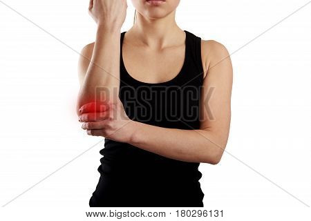 Painful elbow. Concept of rheumatic ache and arthritis.