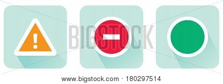 Stop sign and attention and allowing set of flat icon Stock vector illustration