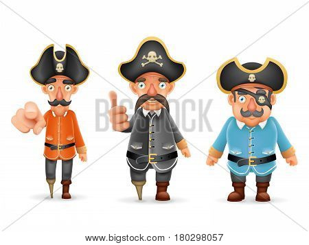 Captain Pirate Funny Pointing Thumbs Up Realistic Cartoon Characters Set Design Isolated Vector Illustration