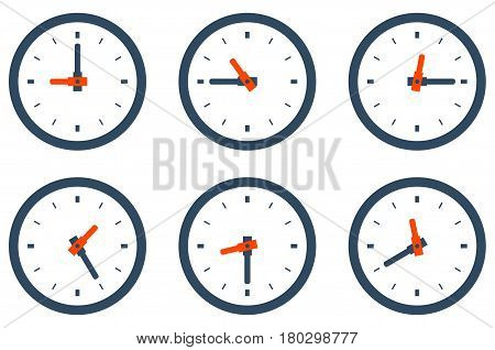 Set of wall clock showing different time morning noon evening and night Stock vector illustration