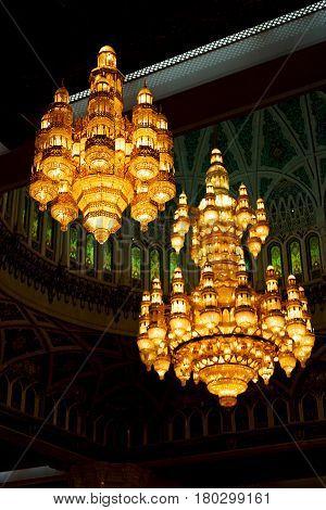 In Oman    Antique Glass  Chandelier