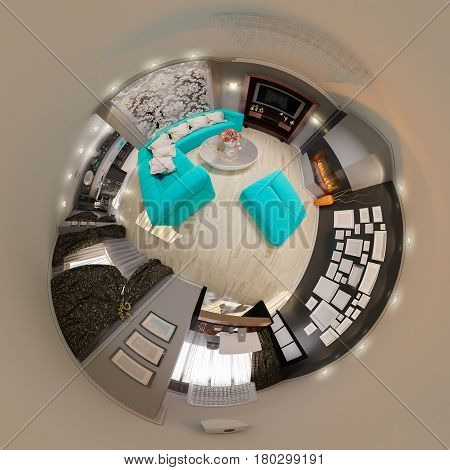 3d illustration spherical 360 degrees, seamless panorama of living room interior design. The design of the living room in the art deco style with turquoise accents. Tiny world