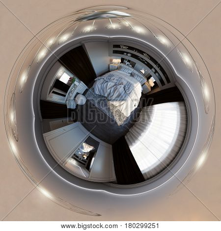 3d illustration spherical 360 degrees, seamless panorama of bedroom interior design. Modern studio apartment in the Scandinavian minimalist style. Little planet and tiny world style