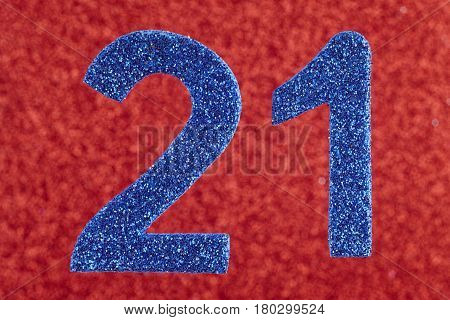 Number twenty-one blue over a red background. Anniversary. Horizontal