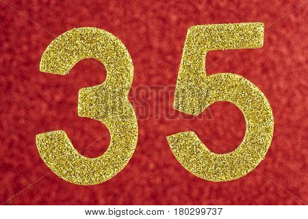 Number thirty-five yellow color over a red background. Anniversary. Horizontal