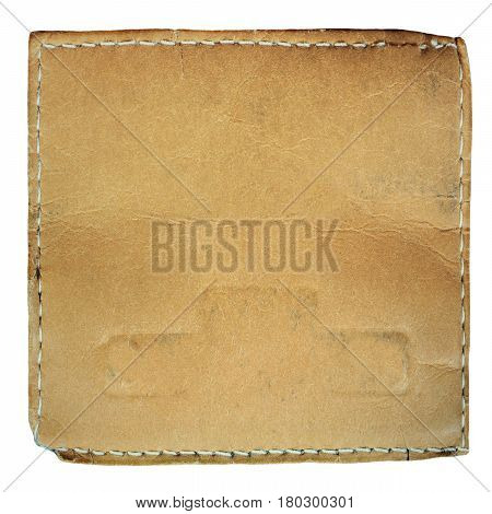 Brown empty leather frame with seam. Design element.