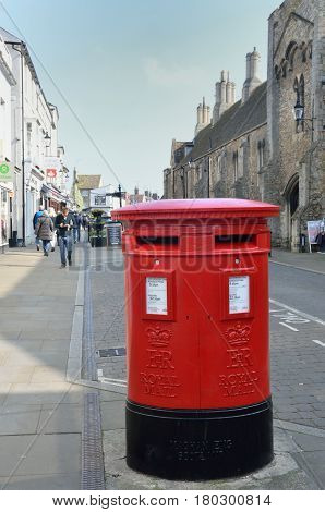 Ely United Kingdom - 27 March 2017: Traditional English Post Box