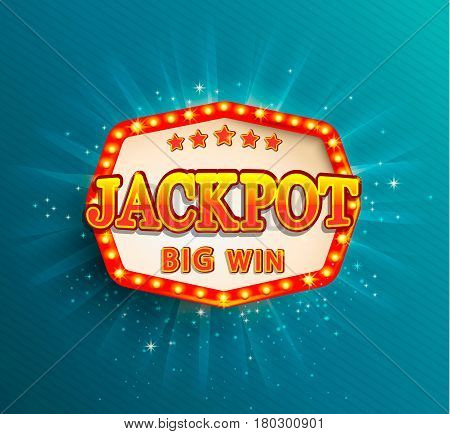 Jackpot lighting banner. Symbol of Big Win.