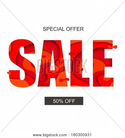 Sale banner with special offer, vector. Half price off.