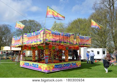 Colchester United Kingdom -1 April 2017: Funfair stall for hook a duck