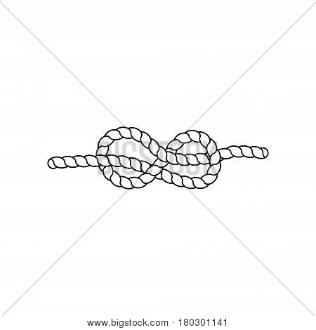 Nautical rope knots. Marine rope. Tying the knot. Vector illustration.