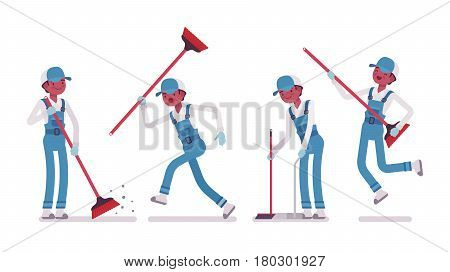 Set of male professional busy janitor sweeping the floor with a broom, using it as a guitar, young, happy and angry, wearing blue overall, cap, protective gloves, isolated on white background