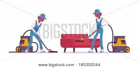 Set of male professional busy janitor vacuum cleaning indoors, floor and sofa office cleaning, young and happy, wearing blue overall, cap, protective gloves, isolated on white background